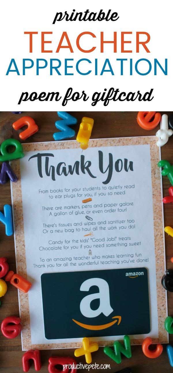Teacher Appreciation Gift Card Printable - Productive Pete