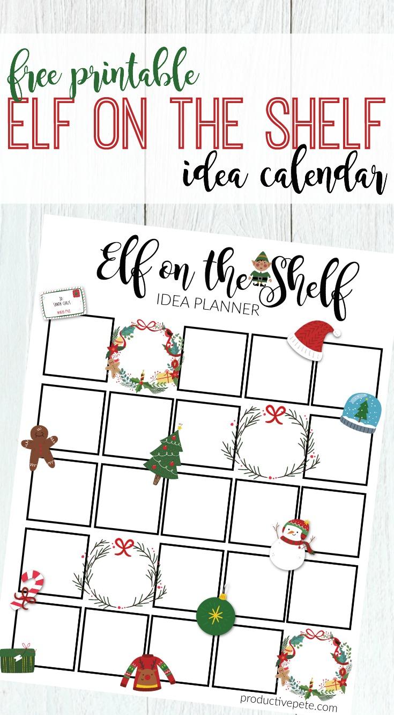graphic regarding Free Printable Elf Pattern named Printable Elf upon the Shelf Calendar - Successful Pete